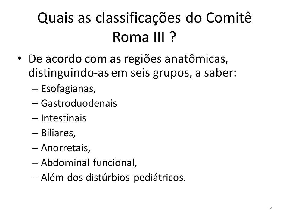Quais as classificações do Comitê Roma III