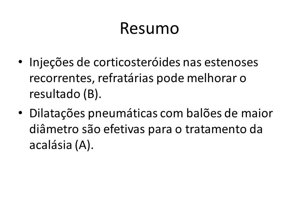 Resumo Injeções de corticosteróides nas estenoses recorrentes, refratárias pode melhorar o resultado (B).