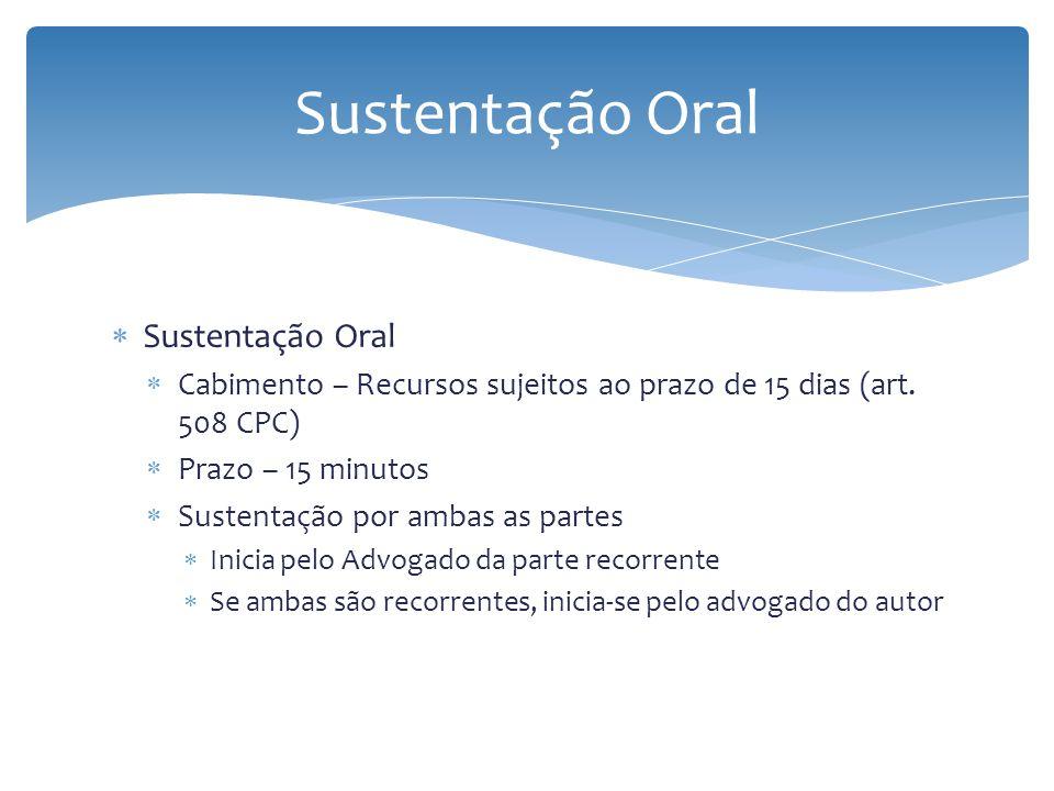 Sustentação Oral Sustentação Oral