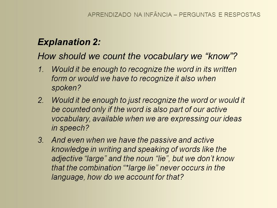 How should we count the vocabulary we know