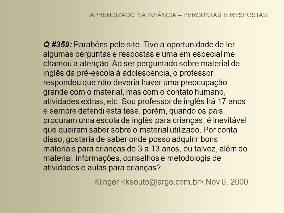 Klinger <ksouto@argo.com.br> Nov 6, 2000