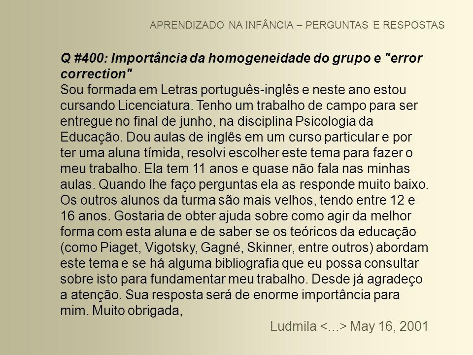Q #400: Importância da homogeneidade do grupo e error correction