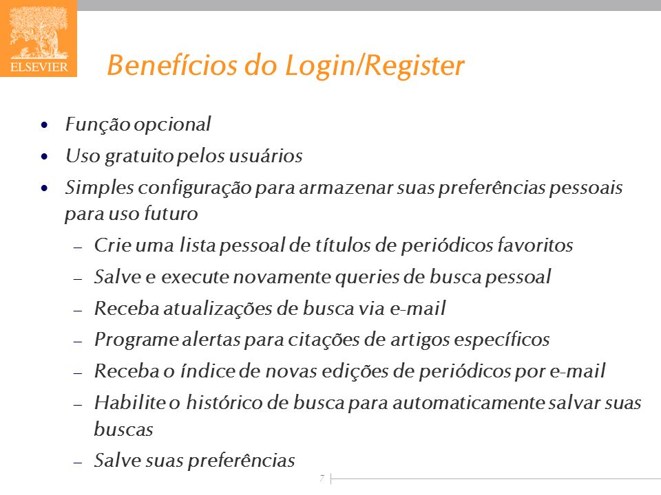 Benefícios do Login/Register