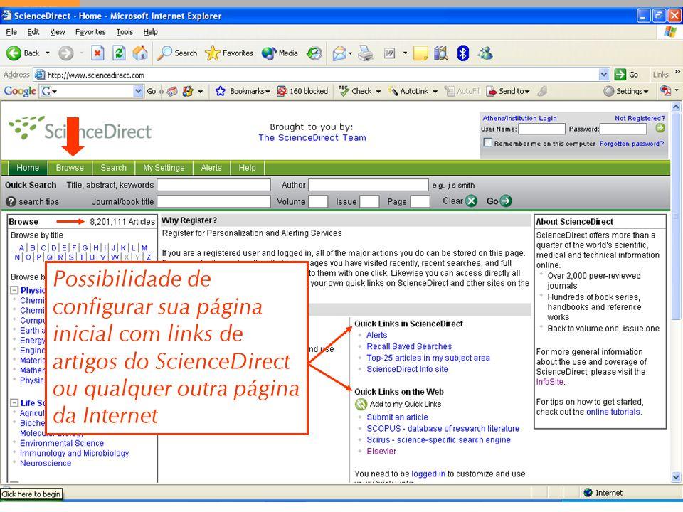 Possibilidade de configurar sua página inicial com links de artigos do ScienceDirect ou qualquer outra página da Internet