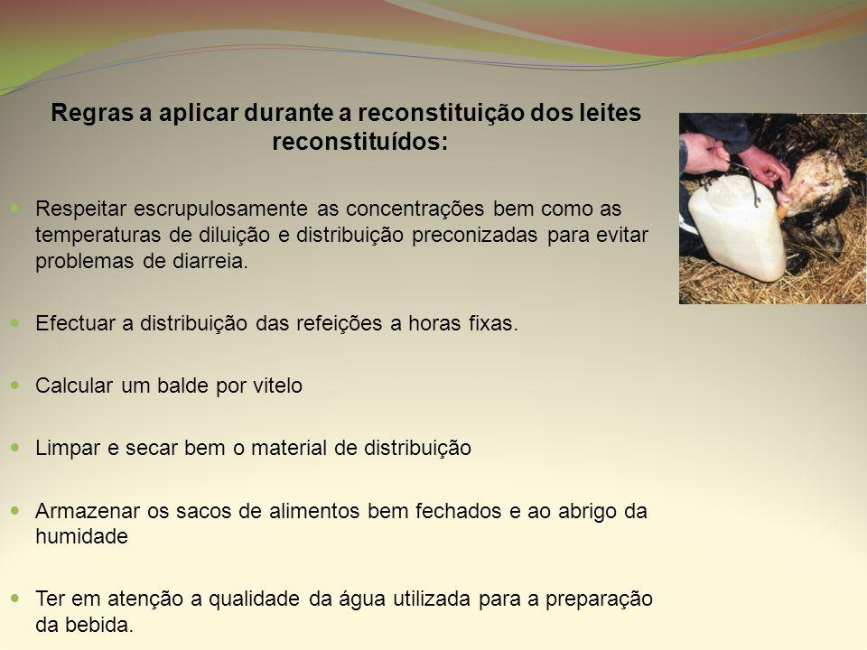Regras a aplicar durante a reconstituição dos leites reconstituídos: