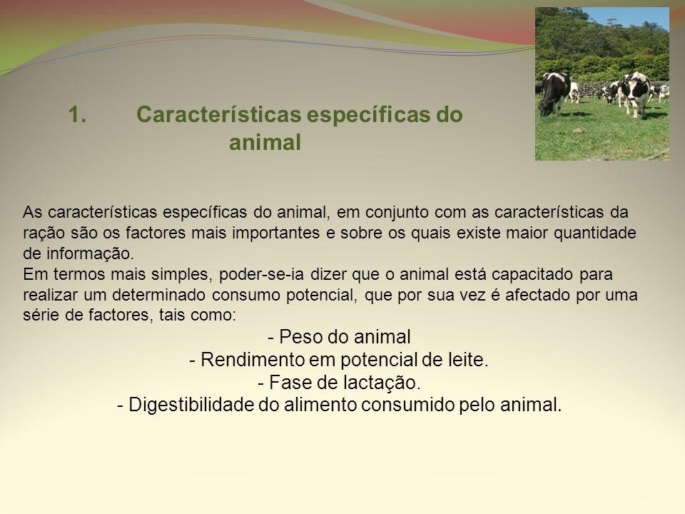 1. Características específicas do animal