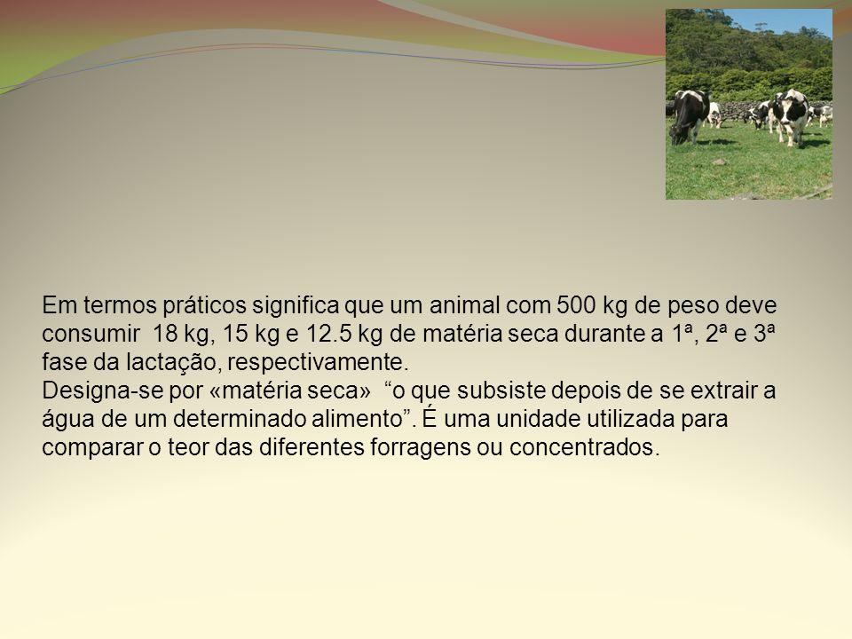 Em termos práticos significa que um animal com 500 kg de peso deve consumir 18 kg, 15 kg e 12.5 kg de matéria seca durante a 1ª, 2ª e 3ª fase da lactação, respectivamente.