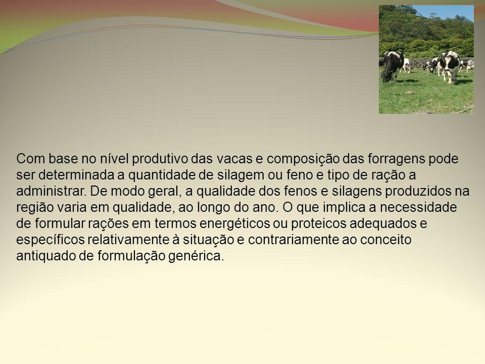Com base no nível produtivo das vacas e composição das forragens pode ser determinada a quantidade de silagem ou feno e tipo de ração a administrar.