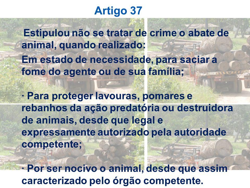 Artigo 37Estipulou não se tratar de crime o abate de animal, quando realizado: