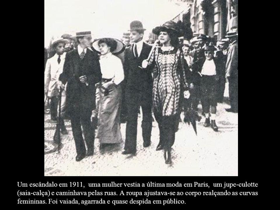 Um escândalo em 1911, uma mulher vestia a última moda em Paris, um jupe-culotte (saia-calça) e caminhava pelas ruas.