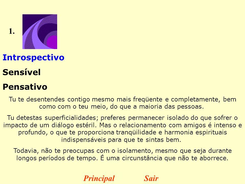 1. Introspectivo Sensível Pensativo Principal Sair