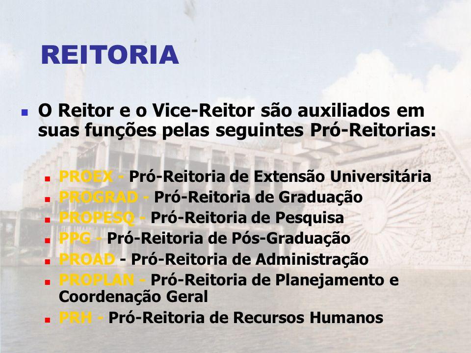 REITORIA O Reitor e o Vice-Reitor são auxiliados em suas funções pelas seguintes Pró-Reitorias: PROEX - Pró-Reitoria de Extensão Universitária.