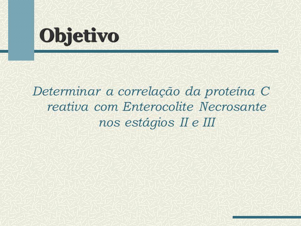 Objetivo Determinar a correlação da proteína C reativa com Enterocolite Necrosante nos estágios II e III.