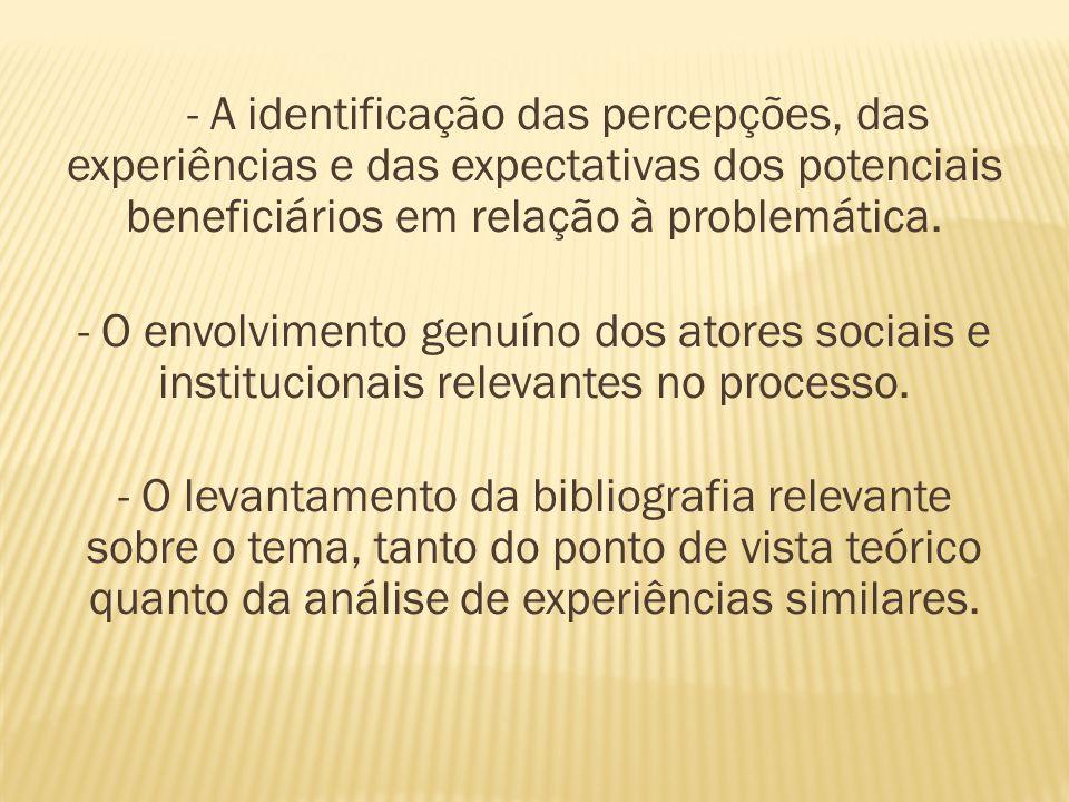 - A identificação das percepções, das experiências e das expectativas dos potenciais beneficiários em relação à problemática.