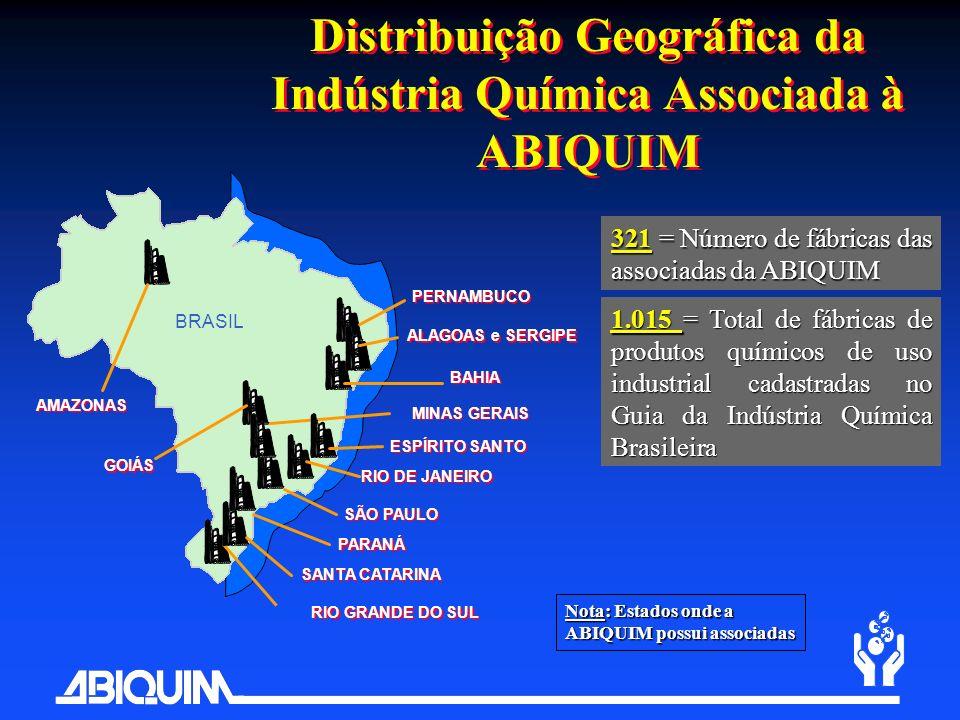 Distribuição Geográfica da Indústria Química Associada à ABIQUIM