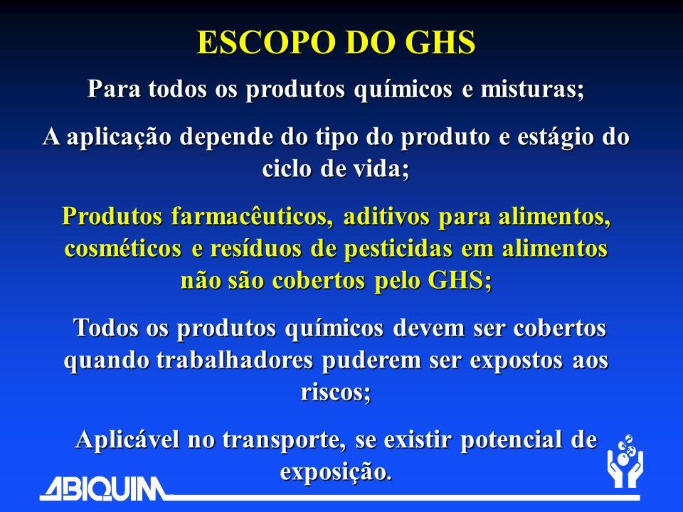 ESCOPO DO GHS Para todos os produtos químicos e misturas;