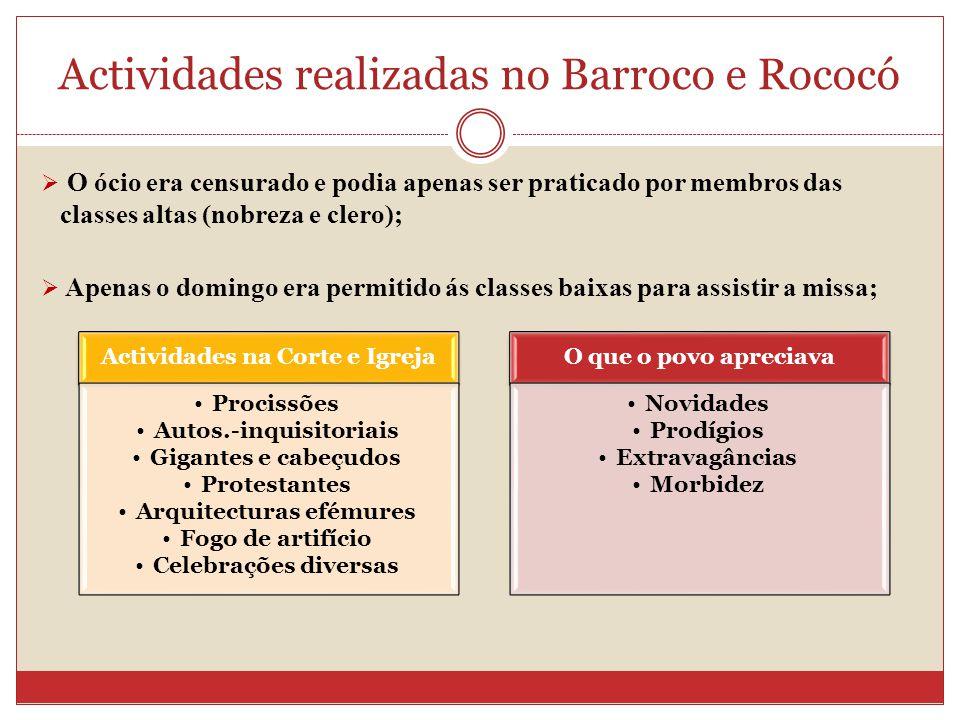 Actividades realizadas no Barroco e Rococó