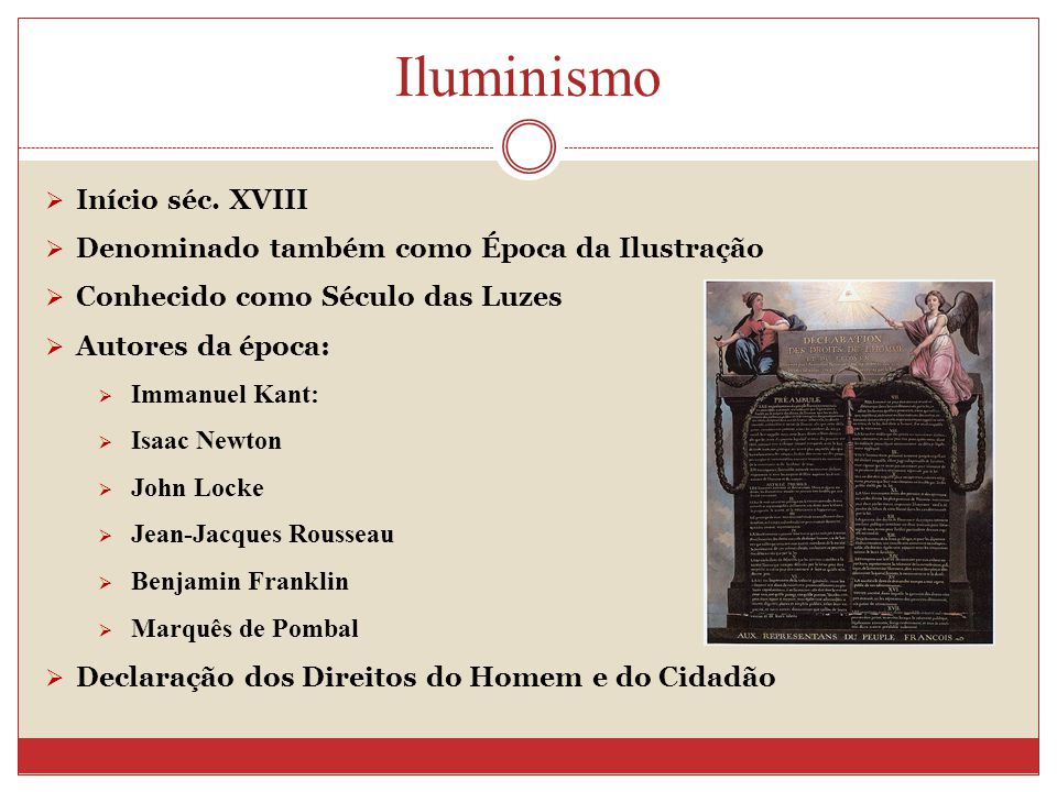 Iluminismo Início séc. XVIII