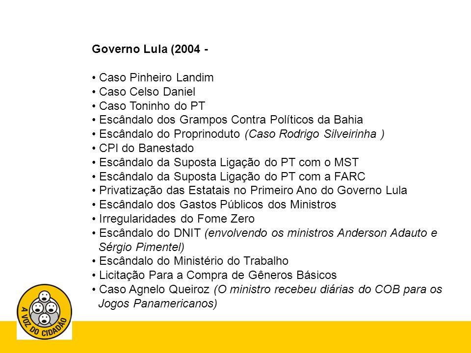 Governo Lula (2004 - Caso Pinheiro Landim. Caso Celso Daniel. Caso Toninho do PT. Escândalo dos Grampos Contra Políticos da Bahia.