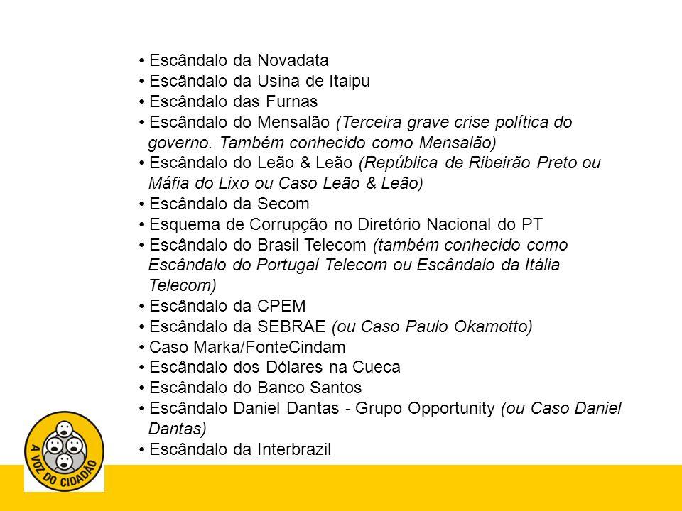 Escândalo da Novadata Escândalo da Usina de Itaipu. Escândalo das Furnas.