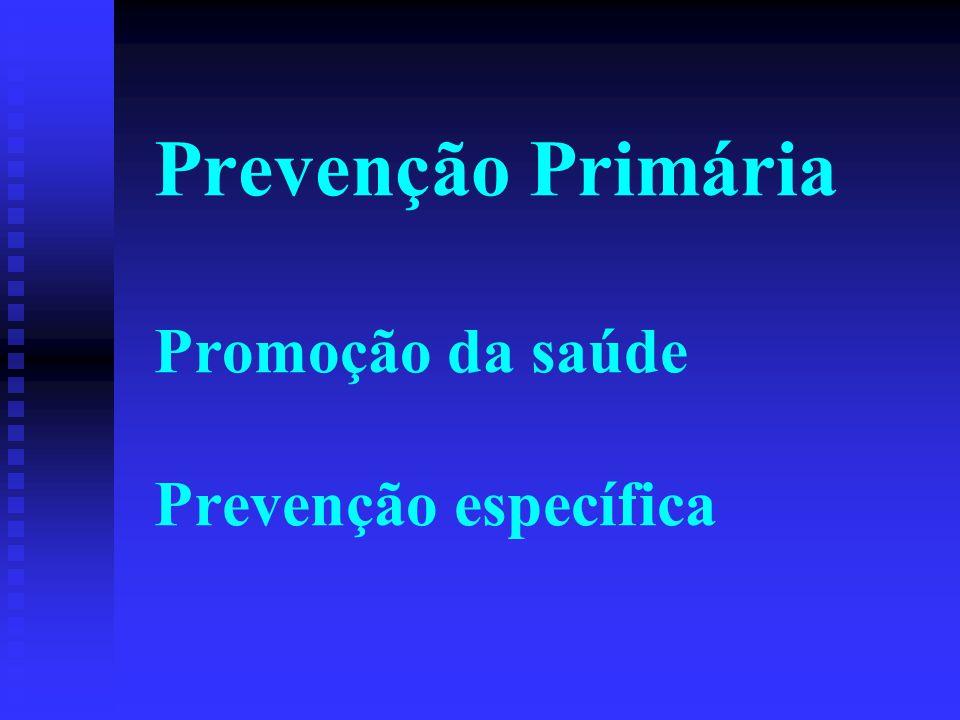 Prevenção Primária Promoção da saúde Prevenção específica