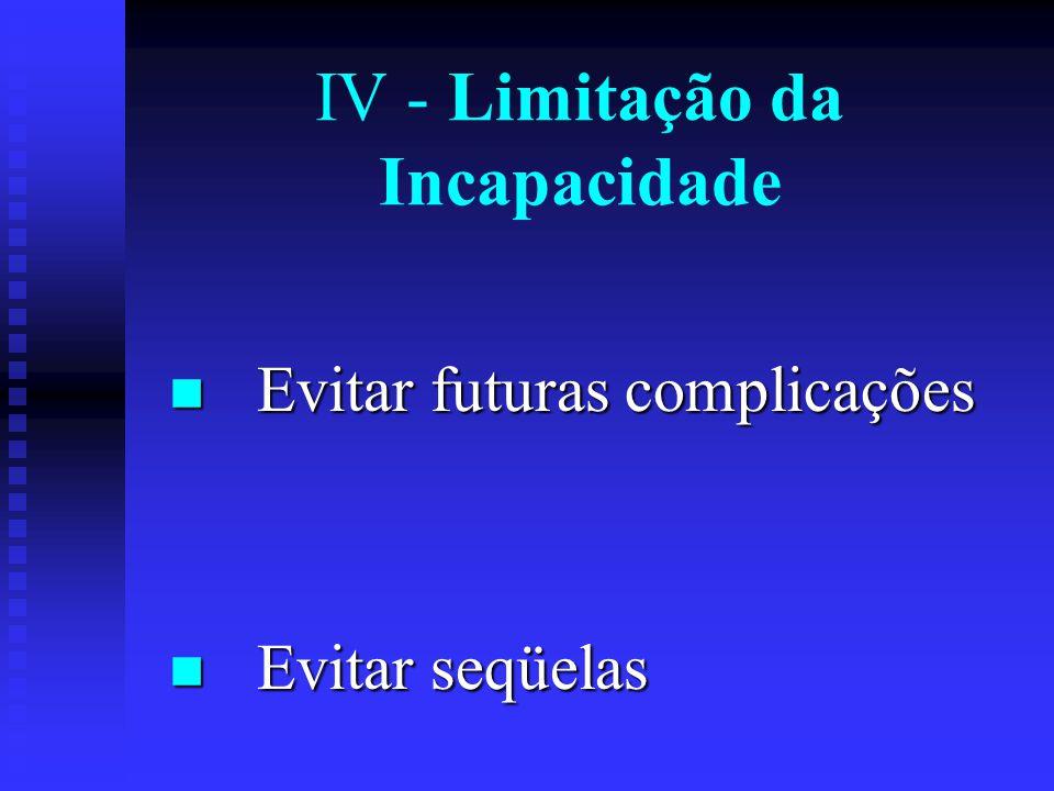 IV - Limitação da Incapacidade