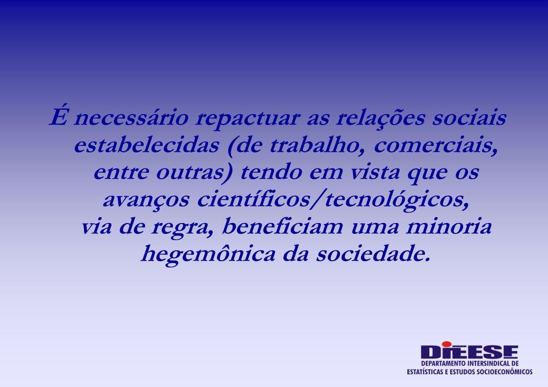 É necessário repactuar as relações sociais estabelecidas (de trabalho, comerciais, entre outras) tendo em vista que os avanços científicos/tecnológicos, via de regra, beneficiam uma minoria hegemônica da sociedade.