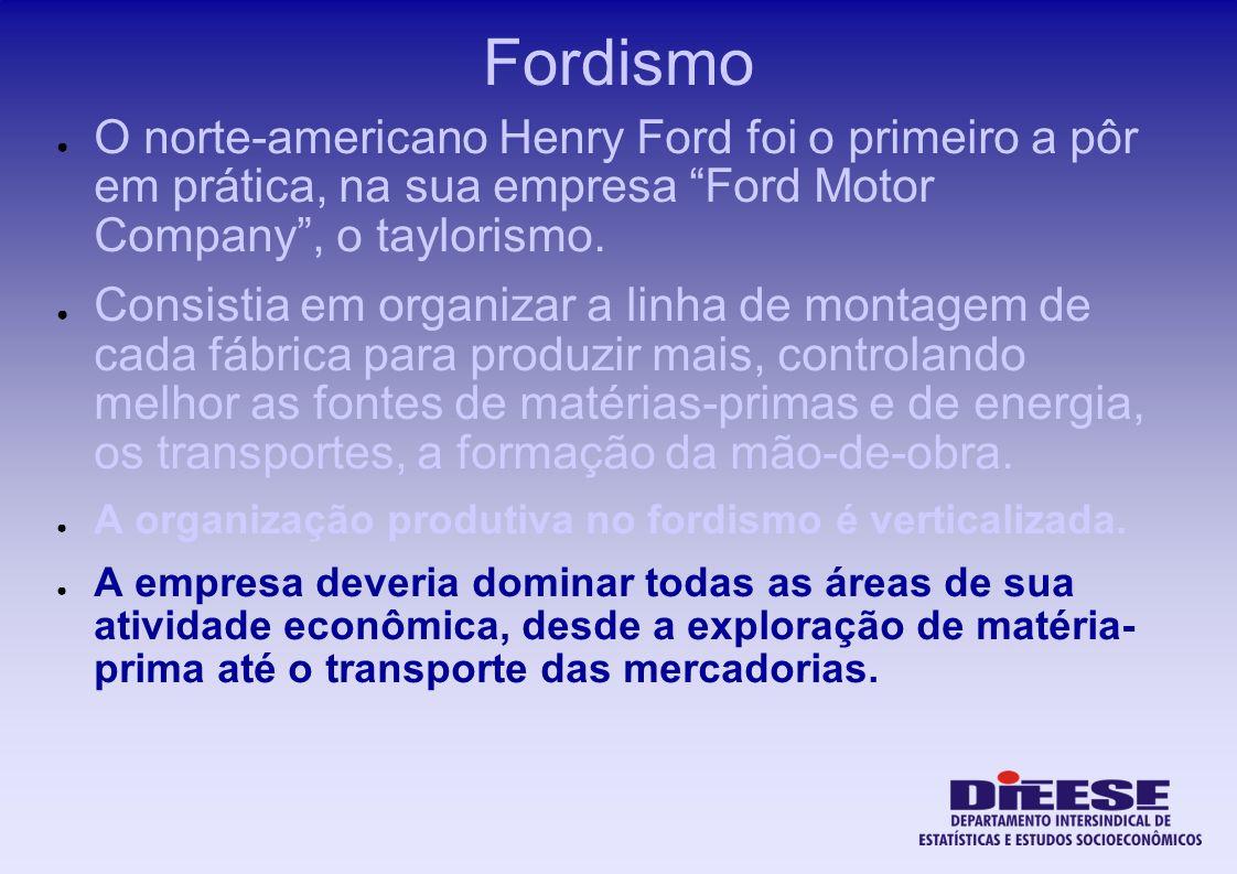Fordismo O norte-americano Henry Ford foi o primeiro a pôr em prática, na sua empresa Ford Motor Company , o taylorismo.