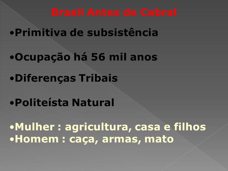 Brasil Antes de Cabral Primitiva de subsistência. Ocupação há 56 mil anos. Diferenças Tribais. Politeísta Natural.