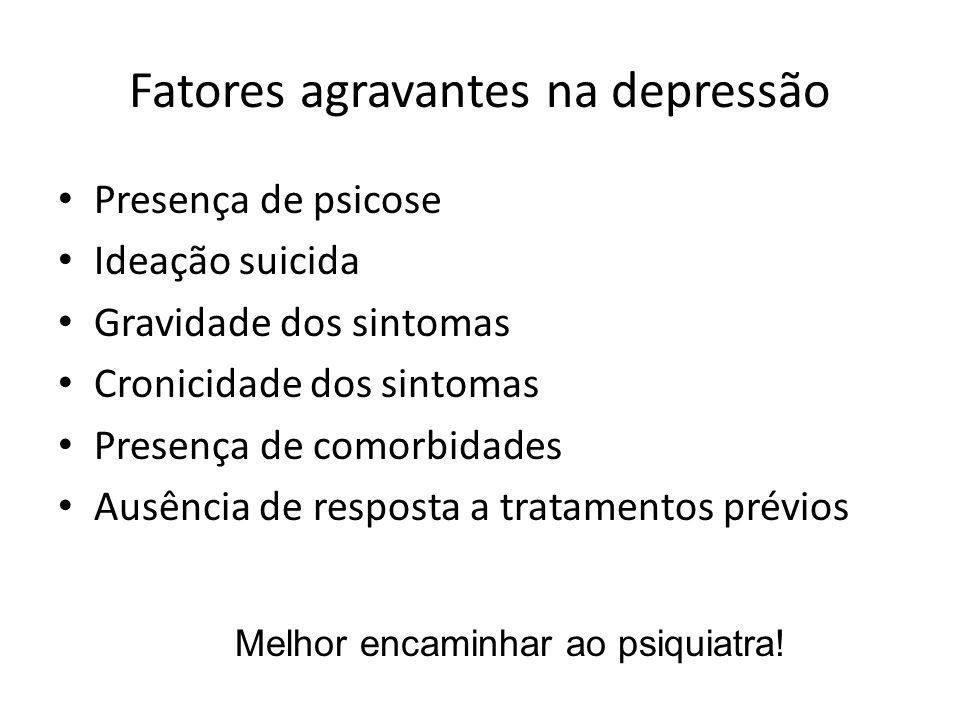 Fatores agravantes na depressão