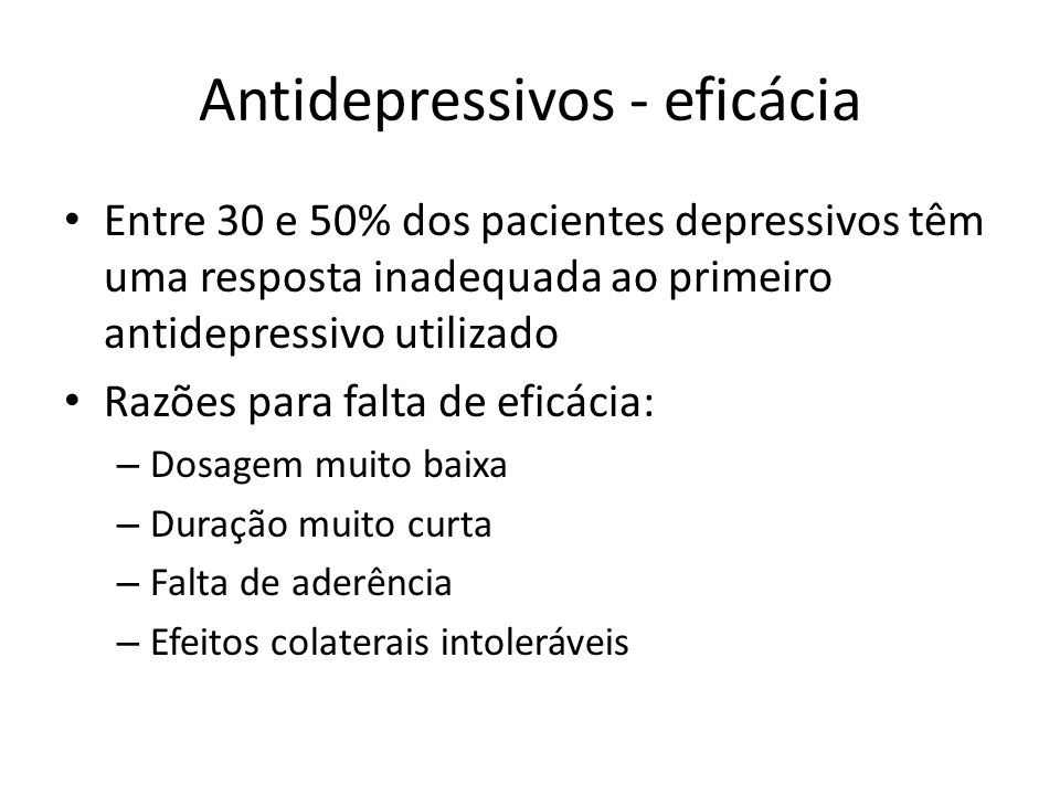 Antidepressivos - eficácia