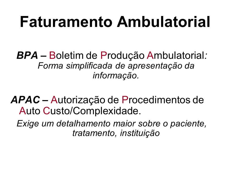 Faturamento Ambulatorial