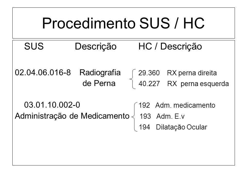 Procedimento SUS / HC SUS Descrição HC / Descrição