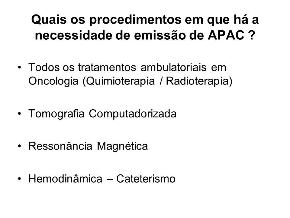 Quais os procedimentos em que há a necessidade de emissão de APAC