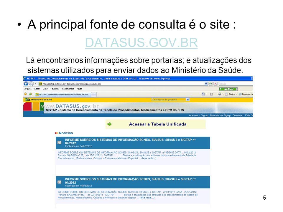A principal fonte de consulta é o site : DATASUS.GOV.BR