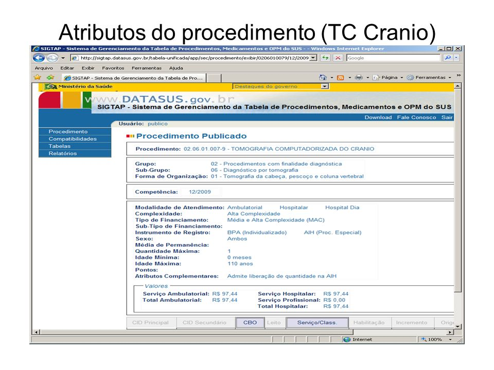 Atributos do procedimento (TC Cranio)