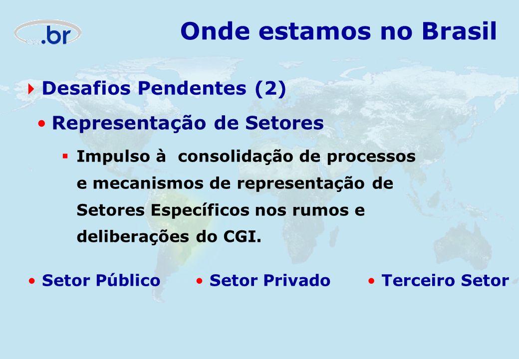 Onde estamos no Brasil Desafios Pendentes (2) Representação de Setores