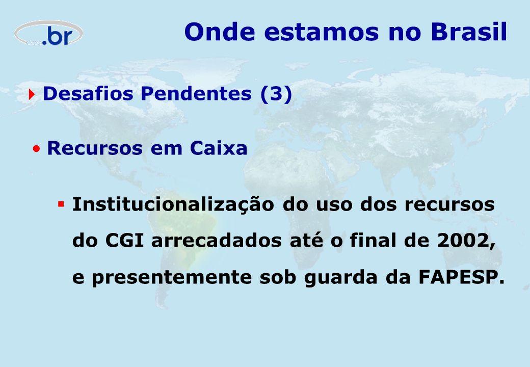 Onde estamos no Brasil Desafios Pendentes (3) Recursos em Caixa