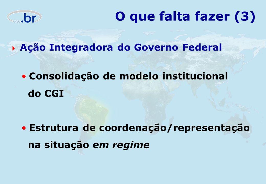 O que falta fazer (3) Ação Integradora do Governo Federal