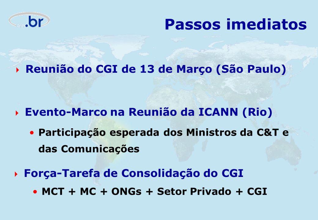 Passos imediatos Reunião do CGI de 13 de Março (São Paulo)