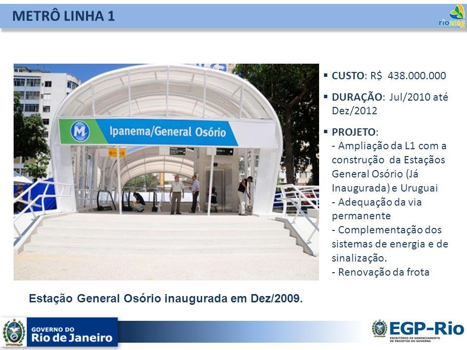 METRÔ LINHA 1 CUSTO: R$ 438.000.000 DURAÇÃO: Jul/2010 até Dez/2012