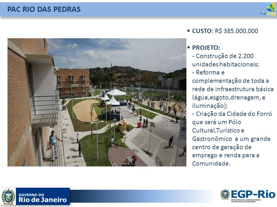 PAC RIO DAS PEDRAS CUSTO: R$ 385.000.000 PROJETO: