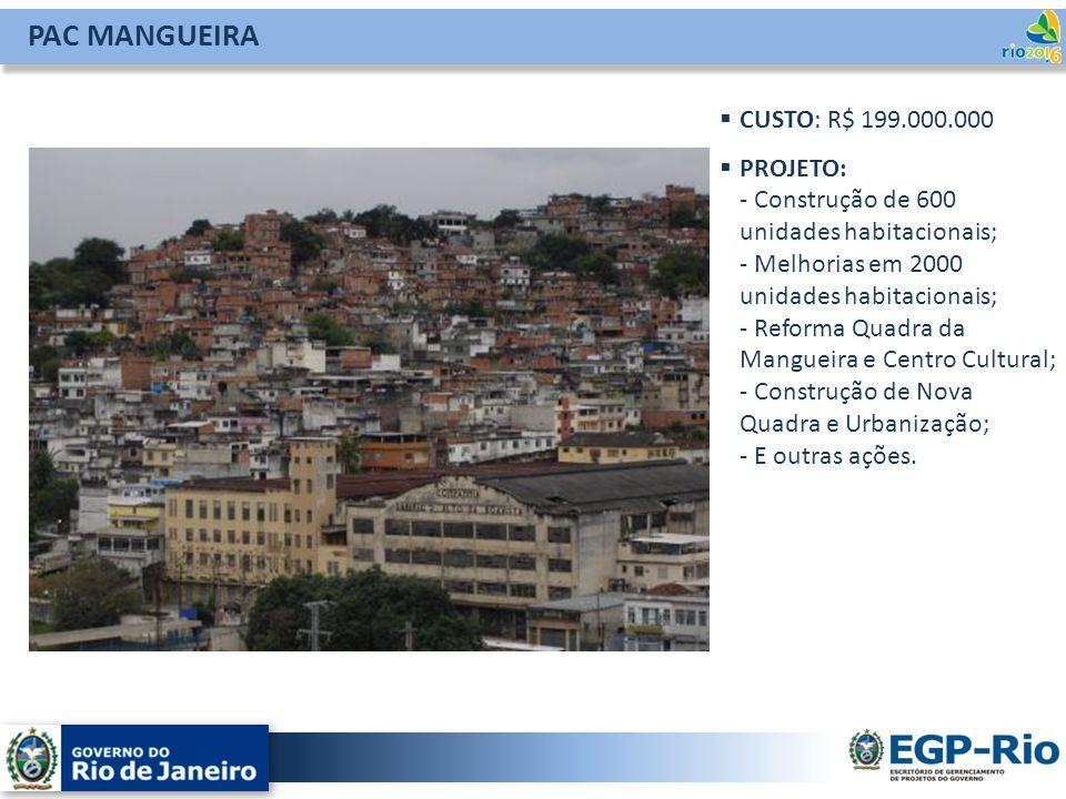 PAC MANGUEIRA CUSTO: R$ 199.000.000 PROJETO: