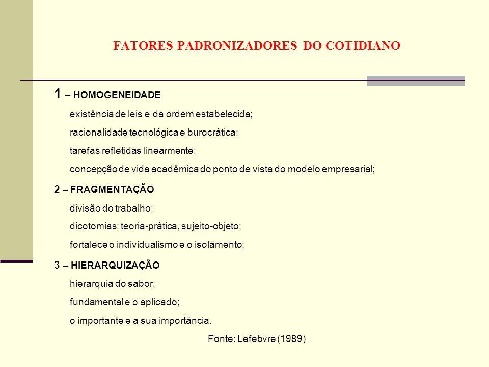 FATORES PADRONIZADORES DO COTIDIANO