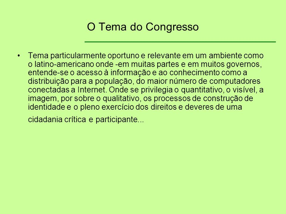 O Tema do Congresso