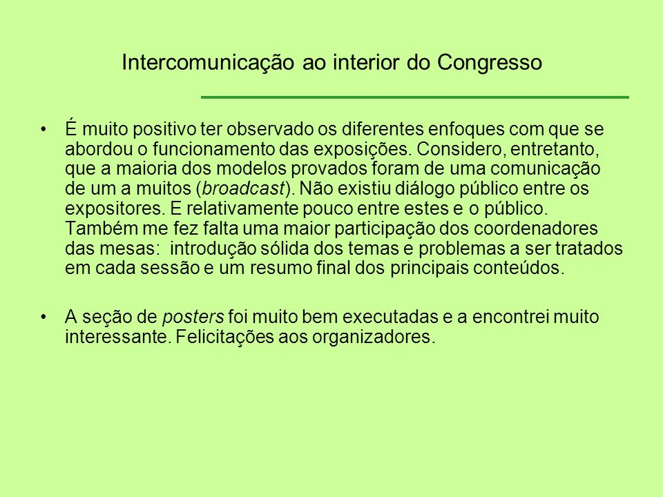 Intercomunicação ao interior do Congresso