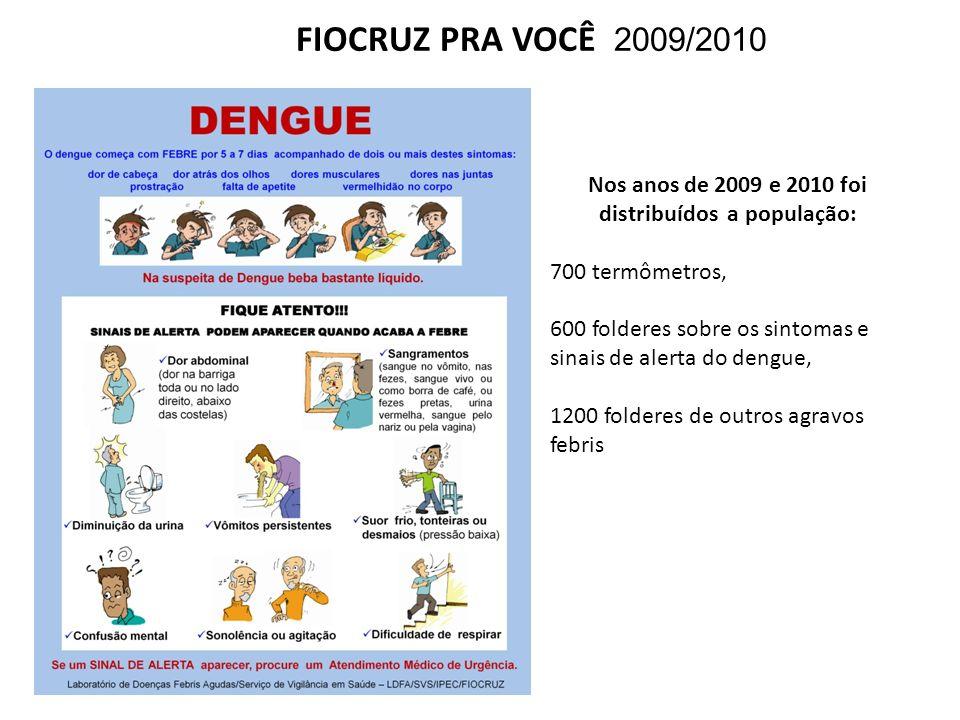 Nos anos de 2009 e 2010 foi distribuídos a população:
