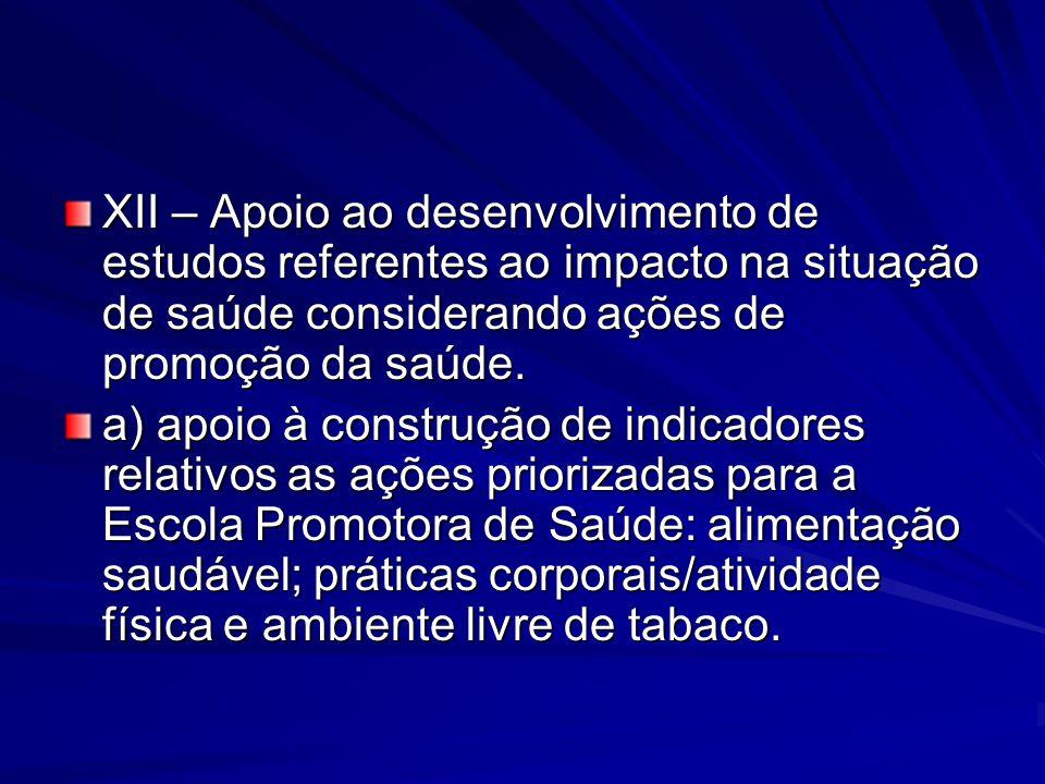 XII – Apoio ao desenvolvimento de estudos referentes ao impacto na situação de saúde considerando ações de promoção da saúde.