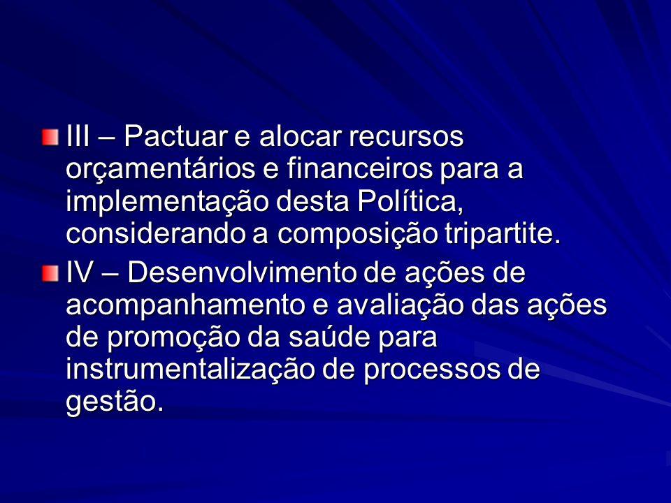 III – Pactuar e alocar recursos orçamentários e financeiros para a implementação desta Política, considerando a composição tripartite.