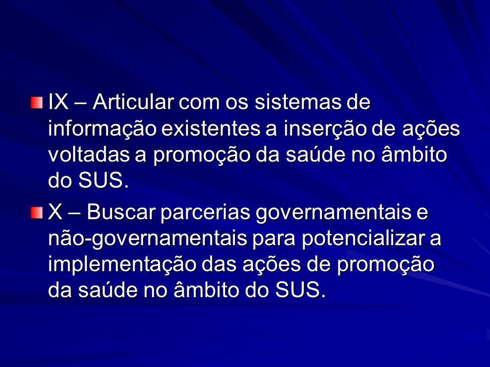 IX – Articular com os sistemas de informação existentes a inserção de ações voltadas a promoção da saúde no âmbito do SUS.
